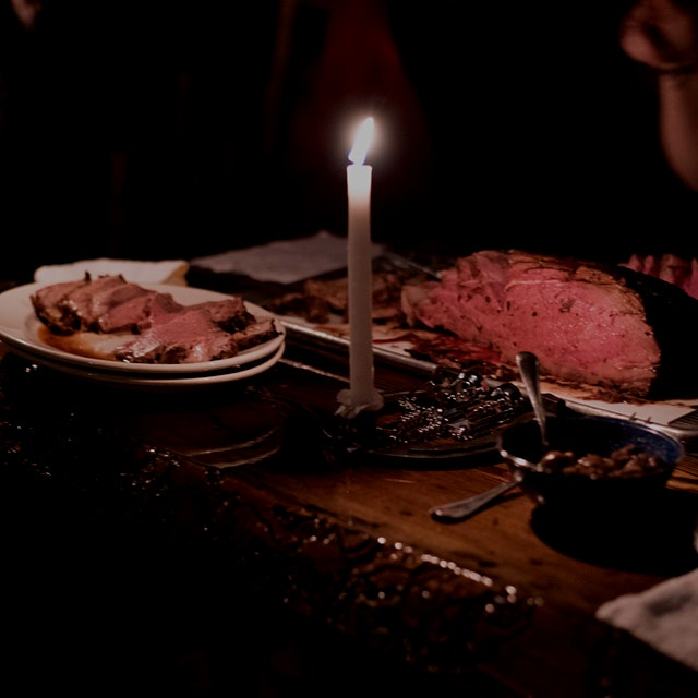 Prime rib cooked in a 100-year-old railroad stove in a cabin in Montana!