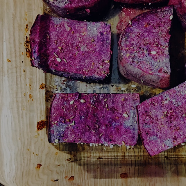 Beautiful purple sweet potatoes, baked with brown za'atar, sea salt, and lime juice. Not in the p...