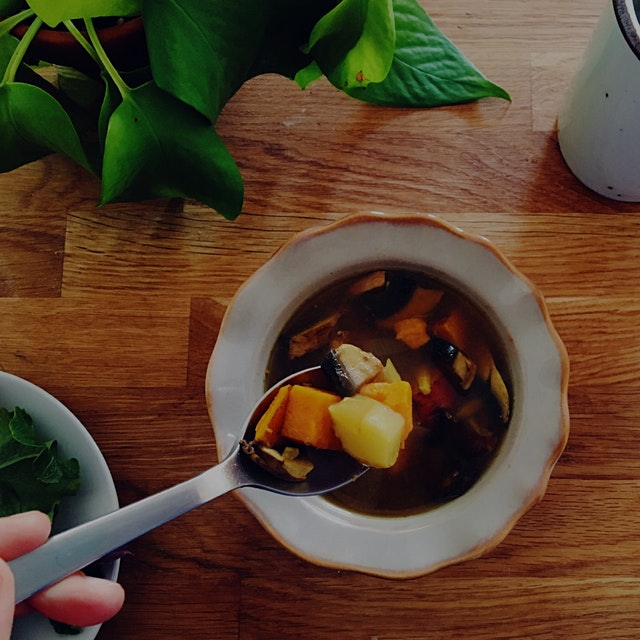 Extra chilly weather calls for extra delicious soup! Turmeric Miso Soup with Sweet Potato, Portob...