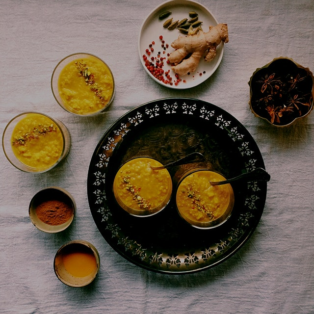 golden rice pudding with turmeric, ginger & pink peppercorns - a spin on the Ayurvedic turmeric m...