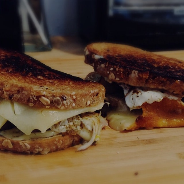 John made epic bacon and eggs grilled cheeses with the goodies we raided from Sahadi's before the...