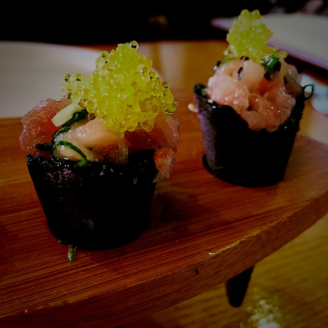 Hamachi Tartare in Squid Ink Cones