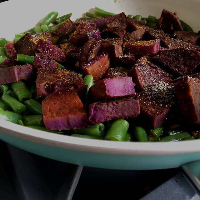 Purple sweet potato and spicy green beans!  My fridge is in dire need of food and had limited ing...
