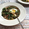 Savory Kale and Cremini Oatmeal with a Fried Egg