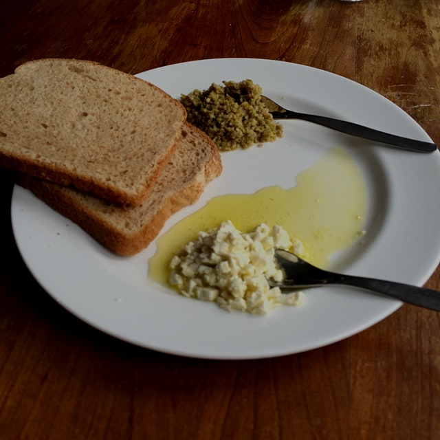 my daughter made this! green olive tapenade with feta cheese