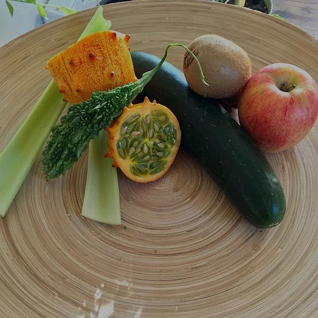 """""My smoothie, pre-blend! 😜😊💖 Apple, cucumber, kiwi, celery, kiwano, bitter melon.  #VicariousMom..."