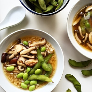 Miso Soup with Mixed Mushrooms, Edamame and Brown Rice