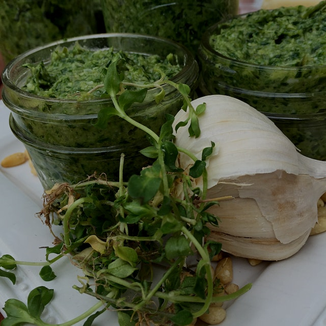 I bought too many ramps and too much chickweed a few weekends ago, so made it into pesto! (Yes, I...