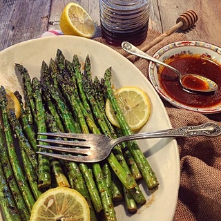 Harissa and Honey Marinated Asparagus