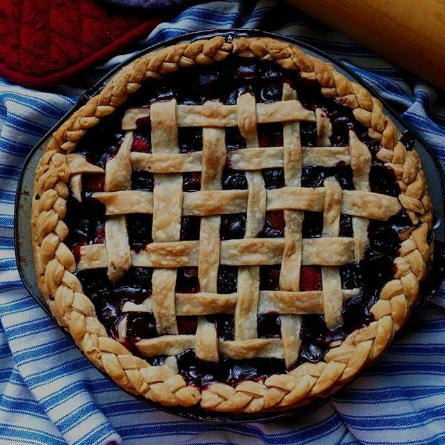 Recipe from www.acozykitchen.com. Blueberries, raspberries and blackberries.
