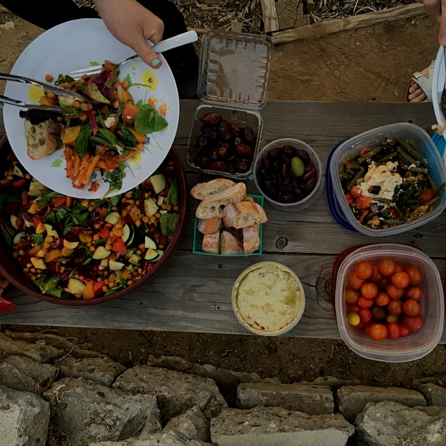 my dad @rt1813 contributed that giant salad on the left, featuring beets, tomatoes, and chard fro...