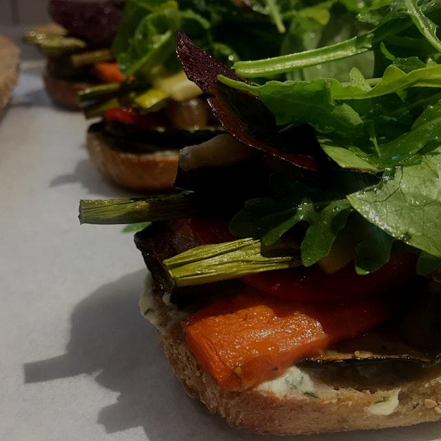 Carrots + eggplant + asparagus + zucchini + peppers + white balsamic and Gouda. #eatyourveggies