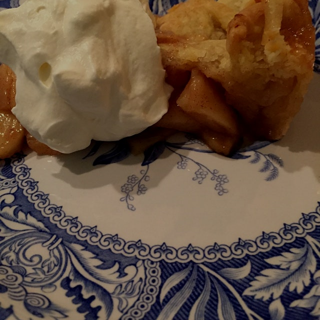 Apple pie with a LOT of whipped cream