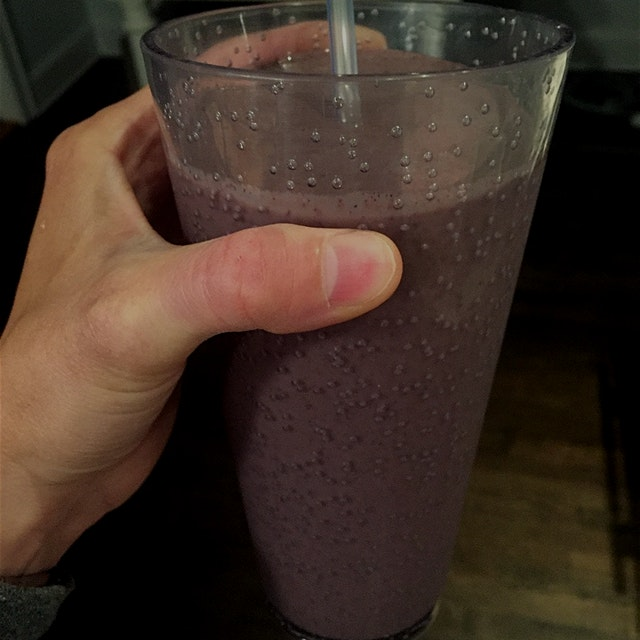 Frozen banana, kale and blueberries, plain yogurt, almond milk, flax, chia and a splash of vanill...