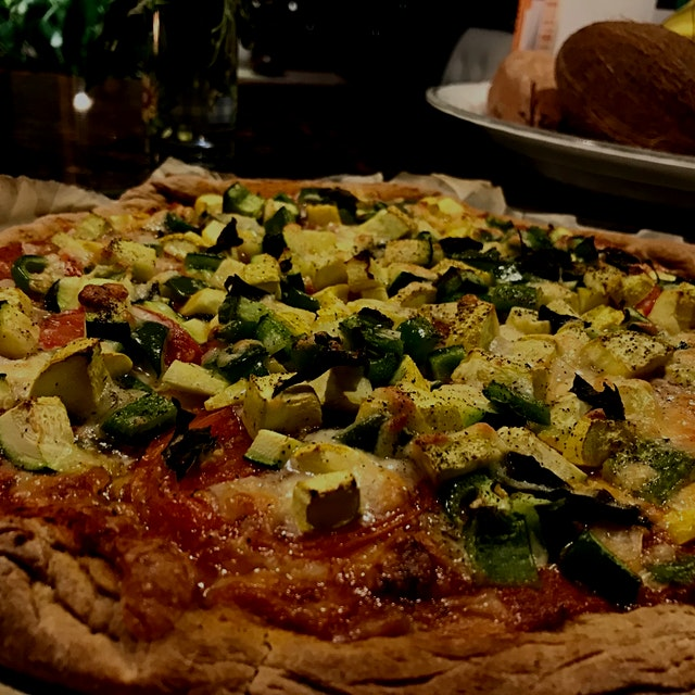 I took some short cuts - I used store bought whole wheat pizza dough, had pre-chopped veggies rea...