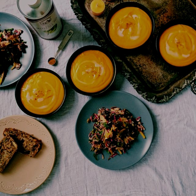 Roasted carrot + parsnip soup and a Brussels sprout, apple + golden beet salad // healthy food, p...