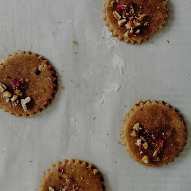 baking experiments with pecans and roses for gluten-free & vegan cookies (this one's a winner!)