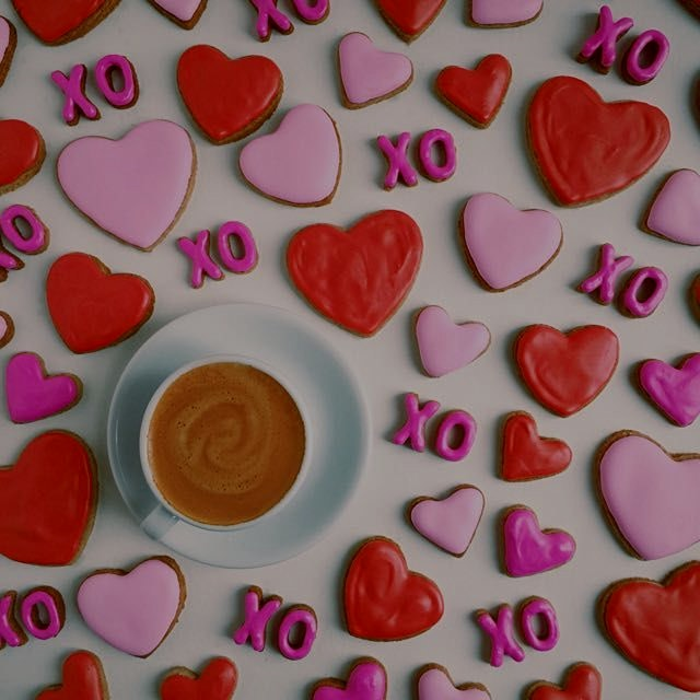 Kicking off Valentine's Day with these Heart & ❌⭕️ Cookies...oh and a little Espresso.  Happy Hap...