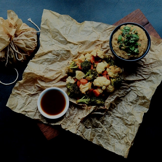 New #foodblog post today.  Teriyaki Roasted Cauliflower Carrot Broccoli Parchment Bundles served ...