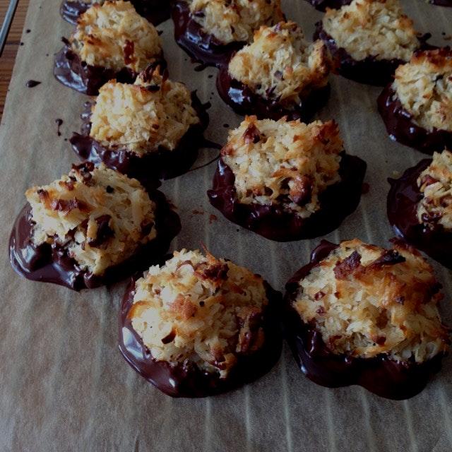 Bourbon pecan macaroons dipped in chocolate