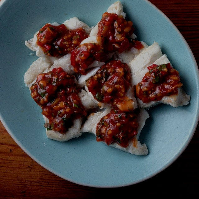 Taiwanese steamed cod with five flavor sauce, recipe from The Food of Taiwan by Cathy Erway