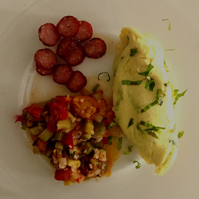 Perfect Friday breakfast - Ratatouille made with CSA ingredients from Windflower Farm, locally ma...