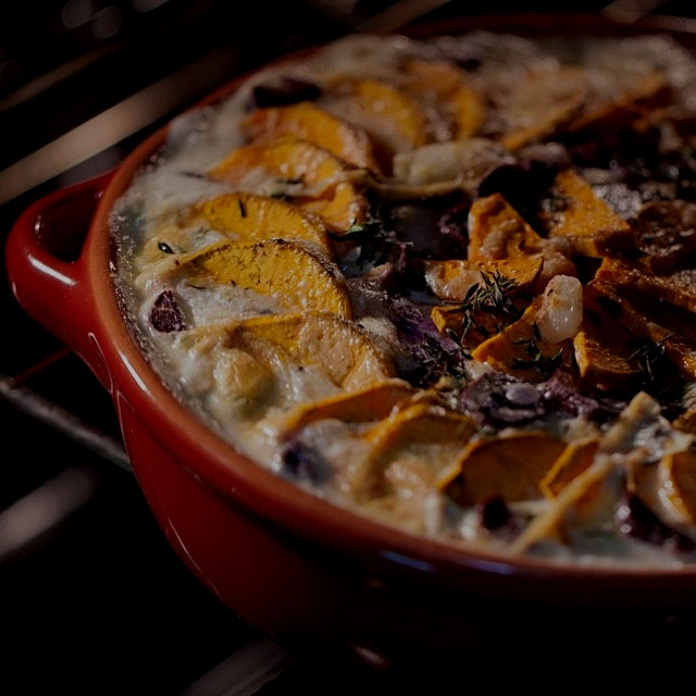 SLICE IT! BAKE IT! Oh so sweet potato dauphinoise! Use it as a hearty side. Overlapping patterns ...
