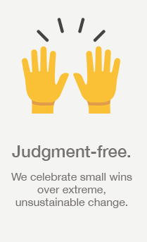 Judgement Free: We celebrate small wins over extreme, unsustainable change.