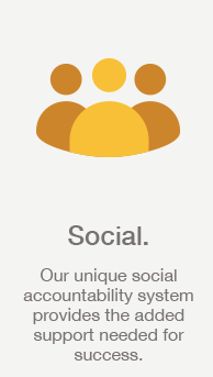 Social: Our unique social accountability system provides the added support needed for success.