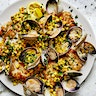 Skillet Cod, Clams, and Corn with Parsley