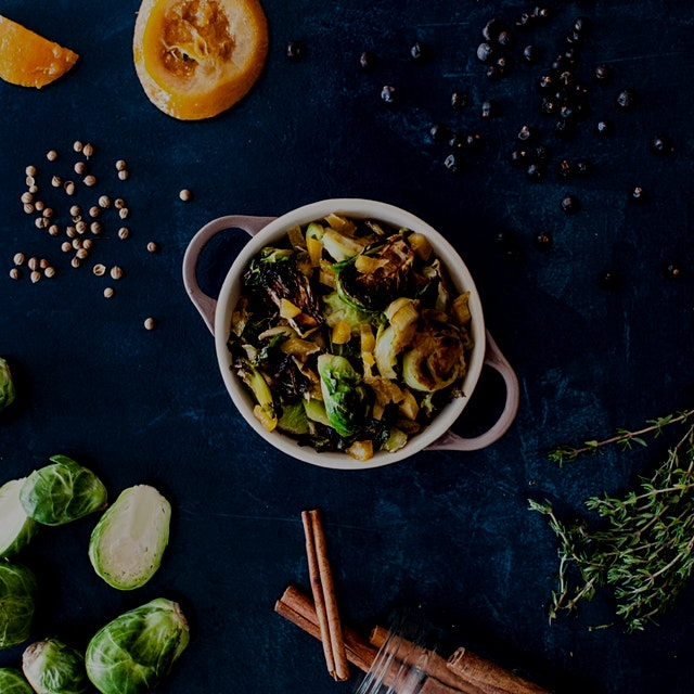 #NoFoodWaste November! Our Brussels Sprouts are cooked in an orange confit we created from the pe...
