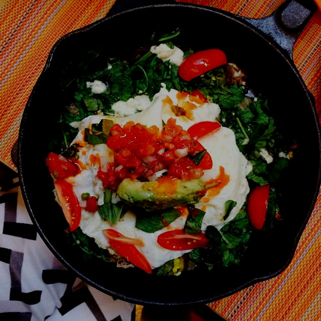 Social kitchen lets you build your own skillet of organic eggs , local veggies, cheeses, and of c...