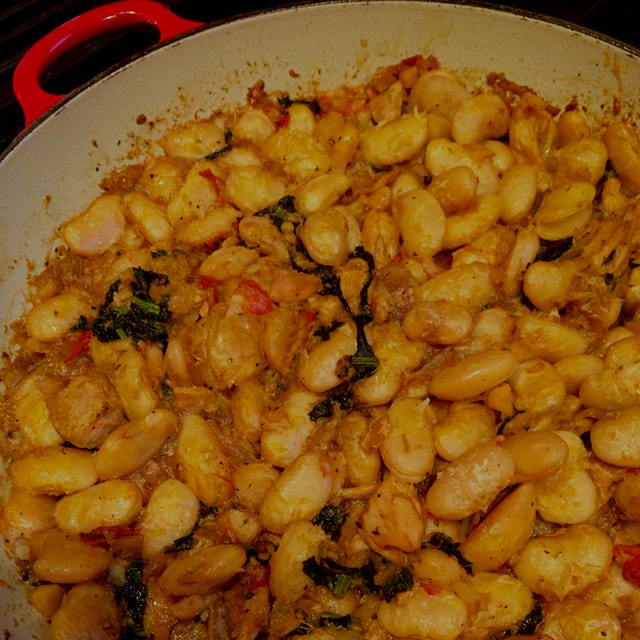 Greek gigante beans poached in olive oil.