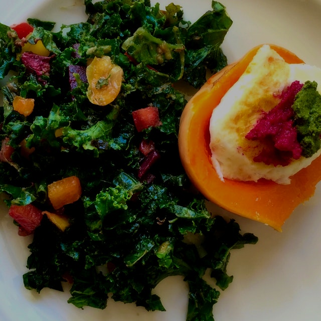 Drop an egg in it. Breakfast. Love kale And color! Happy Saturday.