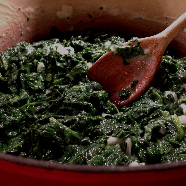 Fresh creamed spinach in the making...