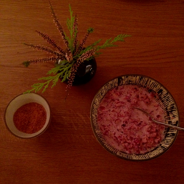 More pink foods for tonight's meal (Hawaiian salt and cranberry relish)