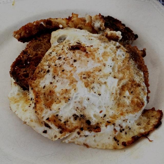 Earlier today. Husband's Tin Pan Alley eggs. #luckyyogi #2ndbreakfast