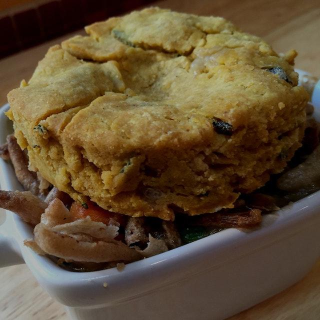 Veggie Pot Pie with Pumpkin, Sage & Thyme Biscuit