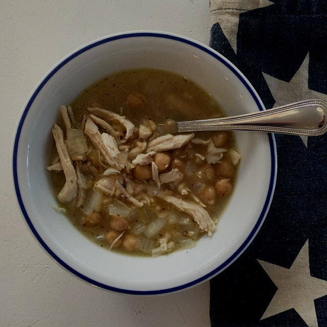 Chilly enough for a quick, pantry staple soup for lunch: sautéed onion, added garbanzo's, pulled ...