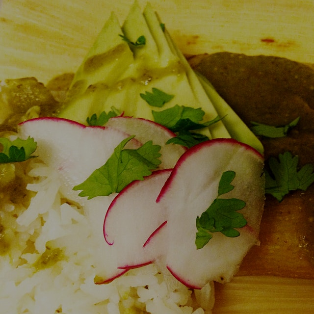 Made some tamales with frijoles a la oaxaquena and a home made mole verde. Loosely based on class...