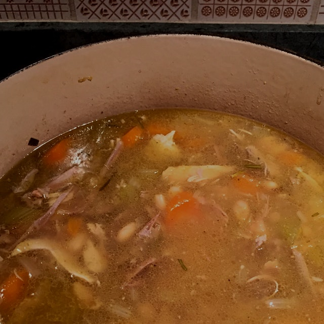 My mom texted me this photo of a turkey soup she's making with the hashtag #NoFoodWaste!