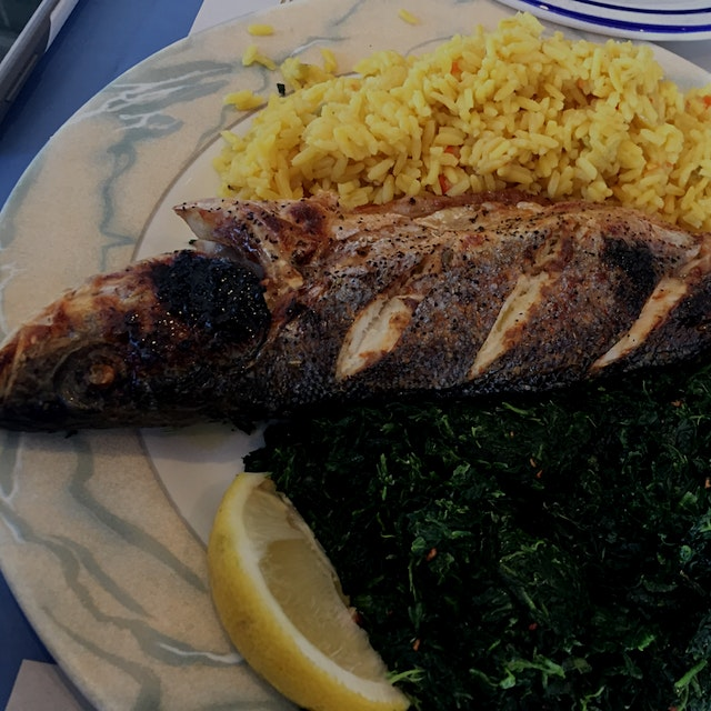 Branzino with spinach and rice -a nice wholesome Friday lunch