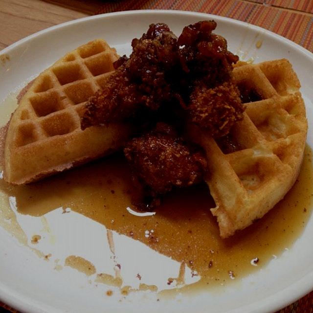 Post wedding chicken and waffles with maple - bacon glaze at Social Kitchen @Rachna @akhilg2002