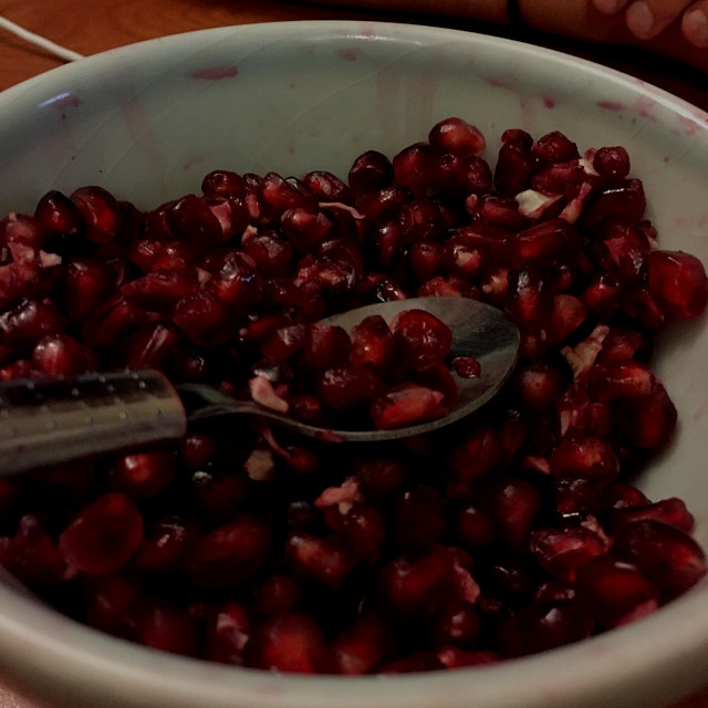 Pomegranate seeds are always the crown jewels of the party!