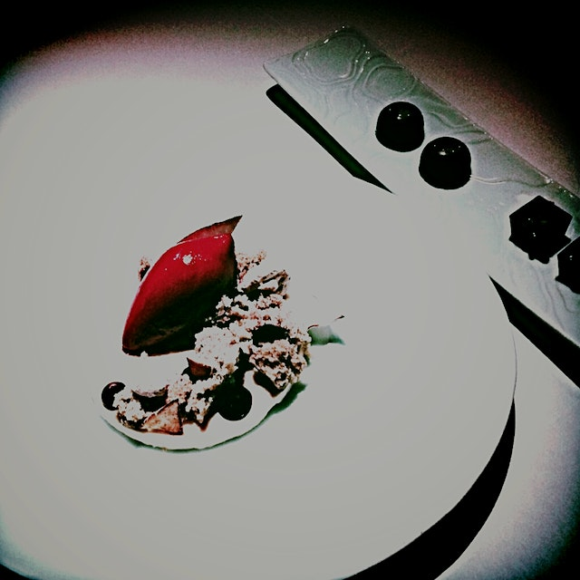 Panna cotta, crusted banana bread, peppermint meringue and concord sorbet....
