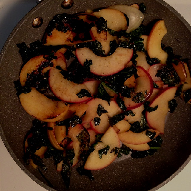 Loving the sweet and savory (apple and kale) contrast in my sauté pan. Also, Happy Terra Madre Da...