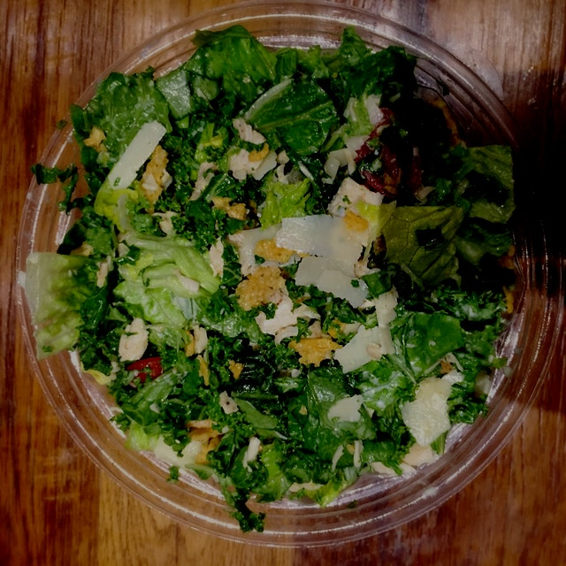 #spoonhealth Kale Caesar salad from Sweet Green at Columbia. Healthy but a bit flavorless :(