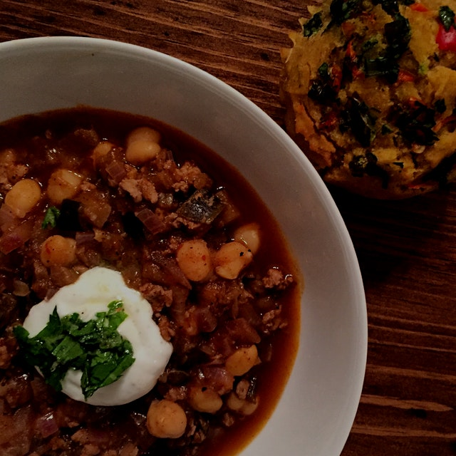 Mediterranean twist on turkey chili with chickpeas, ras el hanout and eggplant with a dollop of y...