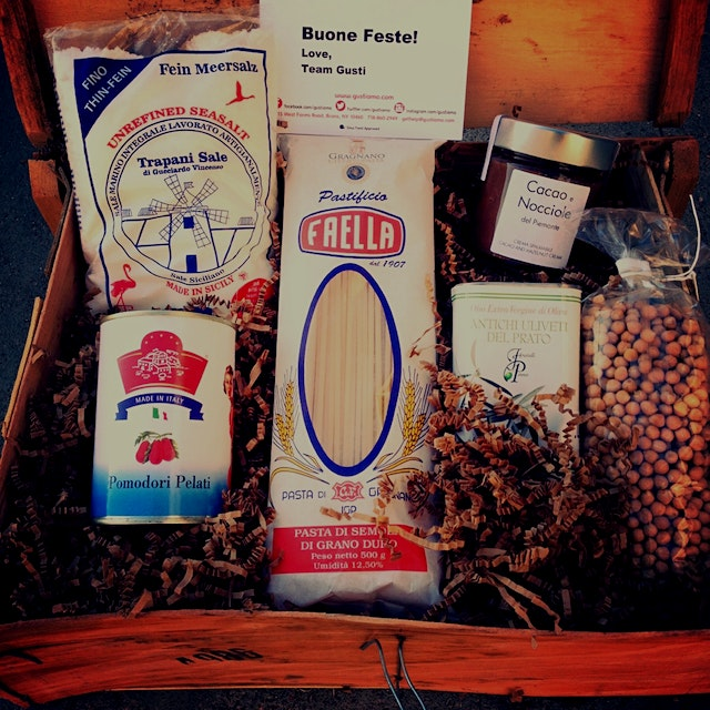 We love all the good food gifts this holiday season! This is one of ours! Repurposed wooden crate...