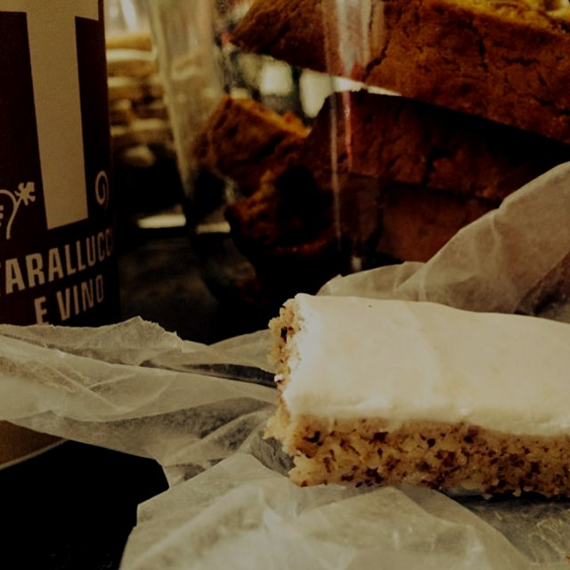 Mid morning treat at tarallucci e vino - italian nut bar filled with almonds, cashews, and pistac...